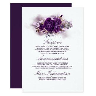 Carte Invité floral pourpre de l'information de mariage