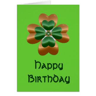 Carte irlandaise d'or de joyeux anniversaire de