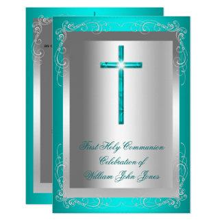 Carte Jade argenté Teal de première sainte communion de