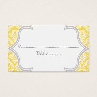 Carte jaune citron et grise d'endroit de mariage