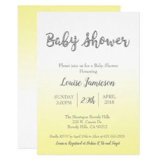 Carte Jaune d'invitation de baby shower et parties