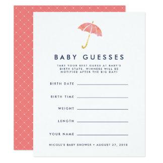 Carte Jeu de devinettes de corail de baby shower de