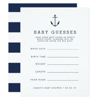 Carte Jeu de devinettes nautique de baby shower d'ancre