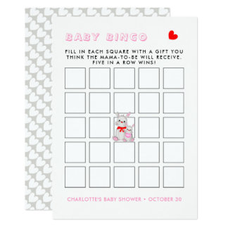 Carte Jeu fantaisie de bingo-test de baby shower de
