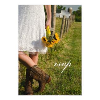 Carte Jeune mariée, bottes de cowboy, ranch de