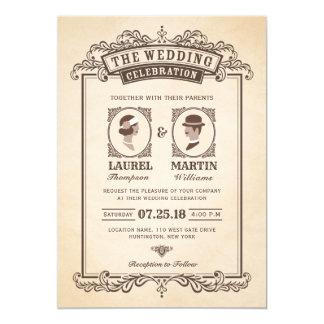 Carte Jeune mariée et marié vintages élégants du