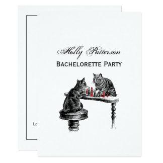 Carte Jeux de société deux chats jouant le rouge de