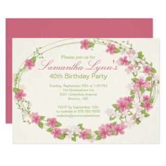 Carte Jolie fête d'anniversaire de guirlande de fleur