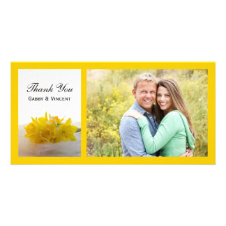 Carte Jonquilles jaunes sur le Merci blanc de mariage de