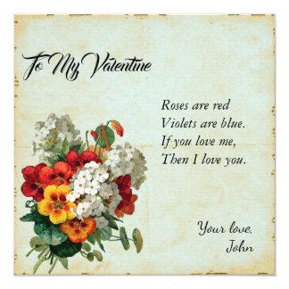 Carte Journal floral victorien d'album à Saint-Valentin