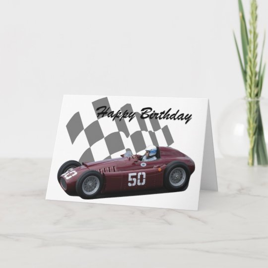carte joyeux anniversaire 7 de voiture de course vintage. Black Bedroom Furniture Sets. Home Design Ideas