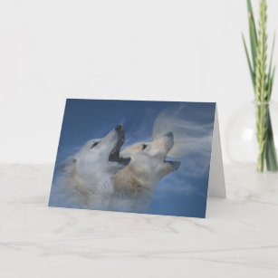 Carte Joyeux anniversaire de loup hurlant la bonne