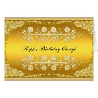 """Carte """"joyeux anniversaire """" d'or"""