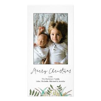 Carte Joyeux Noël de feuille botanique simple