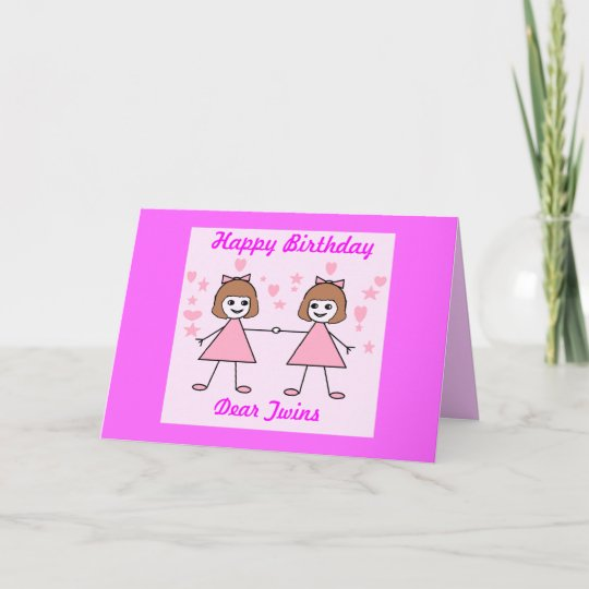 Carte Jumelles De Fille Joyeux Anniversaire Zazzle Fr