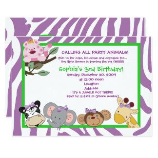 Carte Jungle 5x7 d'anniversaire de rayure de zèbre de