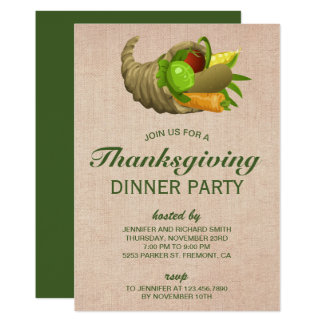 Carte Klaxon de dîner de thanksgiving de toile de jute