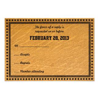 Carte l épousant en bois brûlée occidentale de RSV Cartons D'invitation Personnalisés