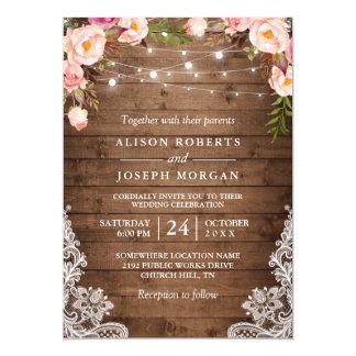 Carte La ficelle en bois rustique allume le mariage