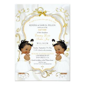 Carte La fille jumelle l'or de baptême de baptême