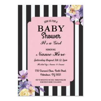 Carte La fleur de fille de baby shower barre floral rose