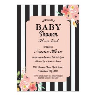 Carte La fleur de fille de baby shower barre le corail