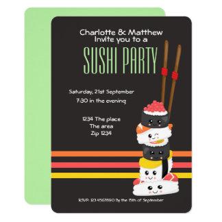 Carte La partie Kawaii mignon de sushi personnalisent