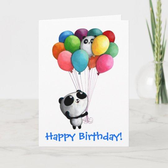 Carte L Anniversaire Monte En Ballon L Ours Panda Zazzle Fr
