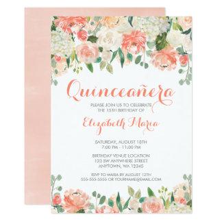 Carte L'aquarelle en pastel fleurit Quinceañera