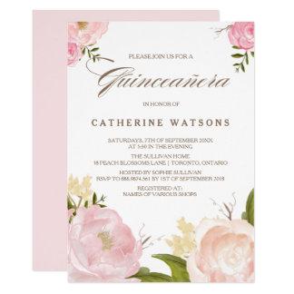 Carte L'aquarelle rose romantique fleurit Quinceañera