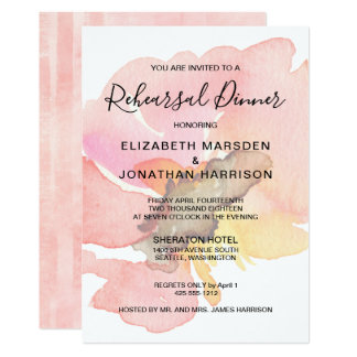 Carte L'aquarelle rougissent dîner floral rose de
