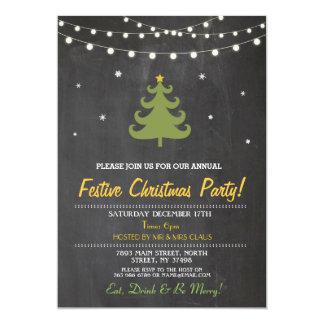 Carte L'arbre de dîner de Noël allume l'invitation