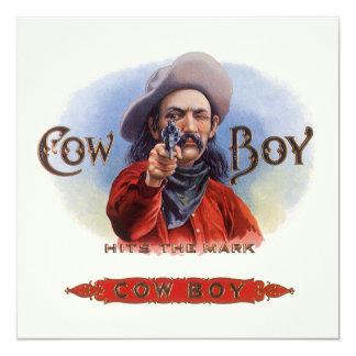 Carte L'art vintage d'étiquette de cigare, cowboy frappe