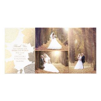 Carte L'automne d'or laisse le Merci blanc de photo de
