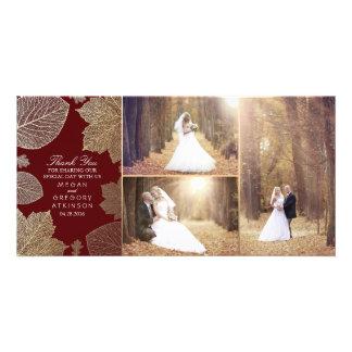 Carte L'automne d'or laisse le Merci de photo de mariage