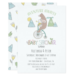 Carte L'aventure attend le baby shower de vélo de lapin