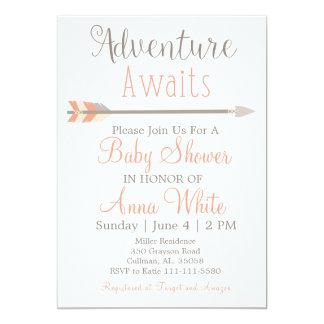 Carte L'aventure attend l'invitation de baby shower