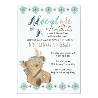 Carte L'aventure attendent l'invitation de baby shower