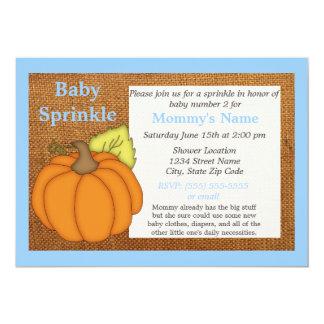 Carte Le bébé bleu d'automne de citrouille arrosent