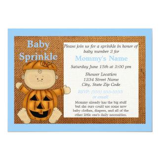 Carte Le bébé bleu d'automne de costume de citrouille