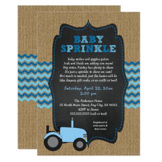 Carte Le bébé bleu rustique de tracteur arrosent, baby
