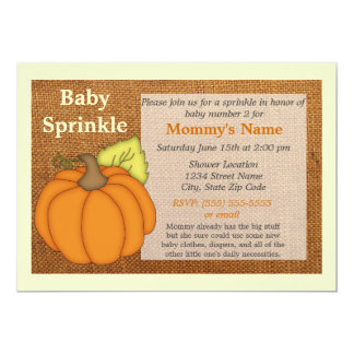 Carte Le bébé d'automne de toile de jute de citrouille
