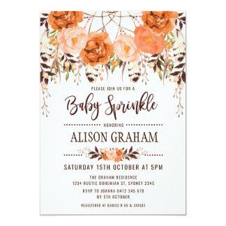 Carte Le bébé floral rustique d'automne de Boho arrosent