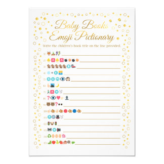 Carte Le bébé réserve le baby shower d'or de jeu d'Emoji