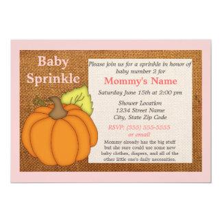 Carte Le bébé rose d'automne de citrouille arrosent
