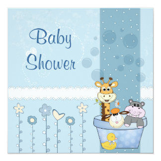 Carte Le bleu layette pointille le baby shower de fleurs