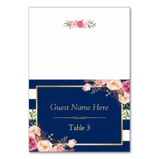 Carte Le bleu marine barre l'endroit floral rose de