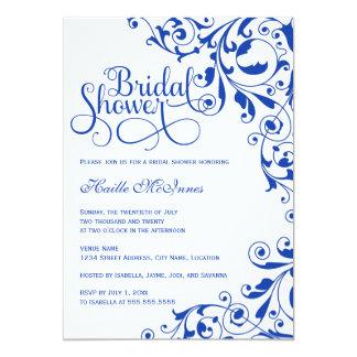 Carte Le bleu royal élégant tourbillonne douche nuptiale