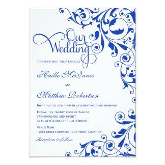 Carte Le bleu royal élégant tourbillonne mariage