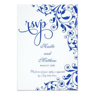 Carte Le bleu royal élégant tourbillonne RSVP